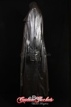 Morpheus Hommes Agneau Noir Pleine Longueur Cuir Longue Trench Veste