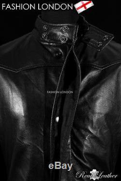 Neo Lambskin ' Black Men Matrix Pleine Longueur Cuir Véritable Manteau Veste
