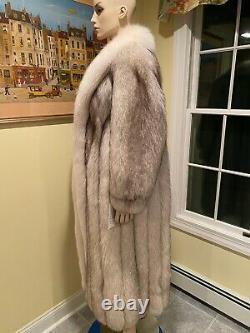 Neuf Naturel Blanc Blanc Arctic Blue Fox 48 Longueur Full Longue Manteau De Fourrure 12 Grand