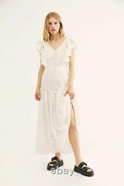 New Free People Cressida Loveshackfancy Maxi Dress, Ivoire, Large, Rrp 545 $