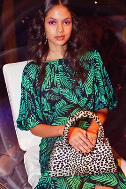 New Rixo Cheryl Teal Cuba Palm Avec Volantée Hem Robe Sz Xs S M L XL