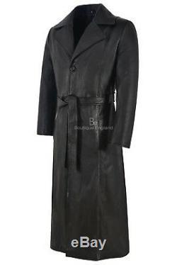 Noir Blade Hommes Pleine Longueur Manteau Wesley Snipes Réel Napa Manteau En Cuir 00147