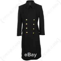 Noir Marine Laine Grand Manteau D'hiver Trench Navale Militaire Toute La Longueur Hommes