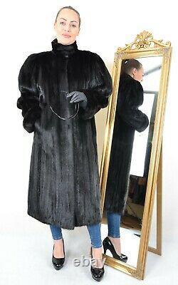 Nous3097 Magnifique Manteau De Fourrure De Vis Sombre Pleine Longueur Veste L Nerzmantel
