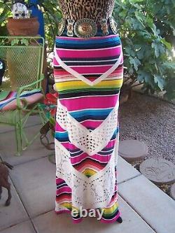 Nouveau$270rare Boho Fiesta Gypsy Crochet Sérape Longue Jupel / Mjen Pirate Booty
