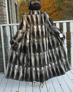 Nouvelle Pleine Longueur Pleine Peau Coupe Ample Impératrice Chinchilla Manteau De Fourrure Veste M-l 8-14