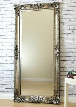 Paris Cadrage En Pied Grand Ornement Sol Mur Miroir Argent 69x33 Ou 175cm X 84cm