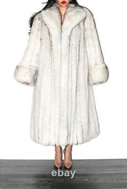 Pleine Longueur Real Blue Shadow Saga Fox Fur Coat Long Jacket Taille L
