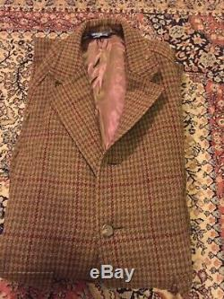 Polo Hommes Vintage Tweed Long Pardessus Taille Env. L