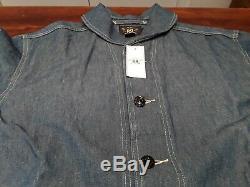 Polo Ralph Lauren Rrl Indigo Coton Lin Châle Corvée Militaire Jacket (l) 490 $ +