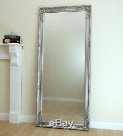 Portland Cadrage En Pied Ornement Grand Mur Vintage Miroir Argent Leaner 160cm X 72cm
