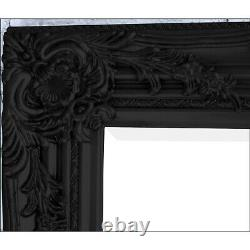 Portland Full Longueur Ornate Large Vintage Wall Leaner Black Mirror 160cm X 72cm