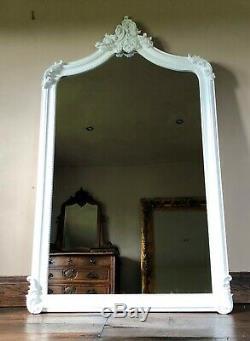 Pure White Grand Longueur Pleine Ornement Français Leaner Robe Dressing Miroir Mural