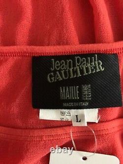 Rare Vtg Jean Paul Gaultier Orange Mesh Maxi Jupe L