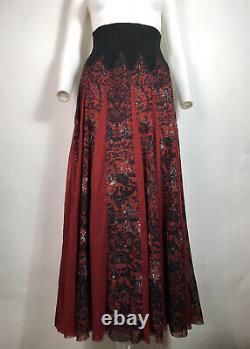 Rare Vtg Jean Paul Gaultier Rouge Maille Jupe Longue L
