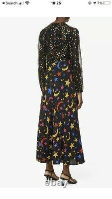 Rixo Mélanie Impression Graphique Robe En Soie MIDI Etoiles Bnwt Taille L / 14 Rrp £335 Etoiles