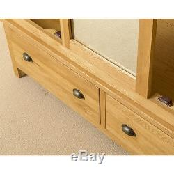 Roseland Oak Triple Armoire / Penderie Avec Miroir / Grande Armoire Fabriquée À La Main