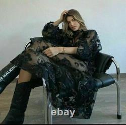 Simone Rocha X H&m Hm Grande Robe De Tulle Pliée À L'étain Noir Xs S M L Nouveau