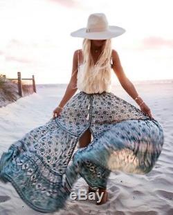 Sort & The Gypsy Kombi Sage Vert Blanc Plein Balayage Imprimer Maxi Jupe Tn-o De La L