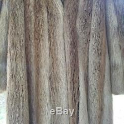 Superbe Brown Cadrage En Pied Manteau Réel Fourrure De Castor Womens Grand Extra Large XL Long