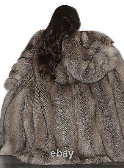Superbe Full Length Real Silver Fox Fur Coat Genuine Indigo Long Jacket Size L