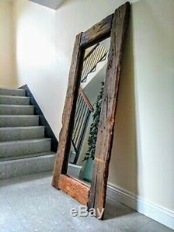 Superbe Grand Cadrage Rustique Plancher De Bois Miroir Régénérés