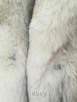 Superbe Luxueux Authentique Norwegian Blue Fox Taille L/xl Manteau De Fourrure Pleine Longueur