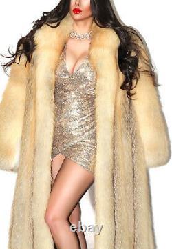 Superbe Pleine Longueur Real Golden Island Red Fox Genuine Fur Coat Jacket L XL