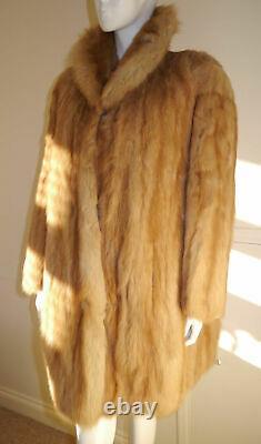 Superbe Soft Large MID Length Real Golden Sable Fur Coat / Veste