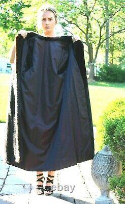 Sz L Brun Real Vison Complet Longueur Vint Coat Shawl Collet Excellent Cond