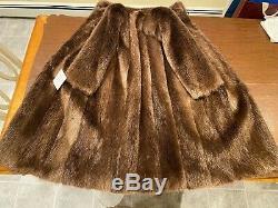 Taille 12 Grand Blond Doré Castor Canadien Réel Manteau De Fourrure 45 Long Cadrage
