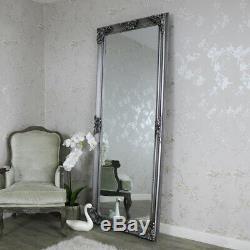 Très Grand Miroir De Plancher De Mur D'argent Antique Orné Pleine Longueur Chic Et Vintage