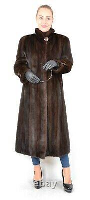 Us1077 Beautiful Mink Fur Coat Full Length Female Skins Size L Nerzmantel