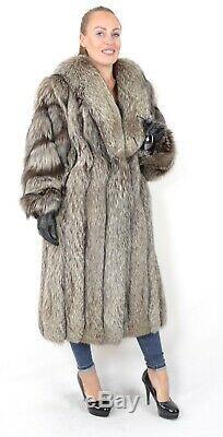 Us2537 Incroyable Silver Fox Fur Coat Longueur Pleine Taille L Classe De Blue Fox