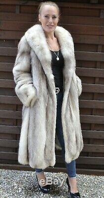 Us2545 Incroyable Renard Bleu Manteau De Fourrure Longueur Pleine Taille L Classe De Siver Fox