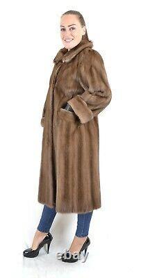 Us2602 Beautiful Farmer Mink Fur Coat Full Length Size L Nerzmantel Pelliccia