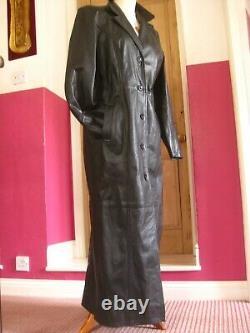 Vali Noir Cuir Pleine Longueur Trench Coat 14 12 Steampunk Goth Duster Long Soft