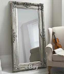 Valois Grand Longueur Pleine Shabby Chic Argent Mur Leaner Étage Miroir 183 X 97 CM
