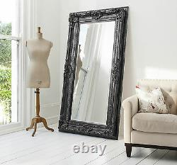 Valois Large Black Minable Chic Full Length Wall Leaner Floor Mirror 72 X 38