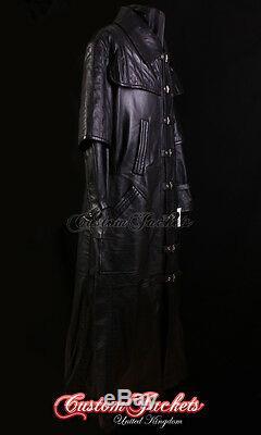 Van Hommes Helsing Agneau Noir Pleine Longueur Cuir Veste Longue Plumeau Manteau
