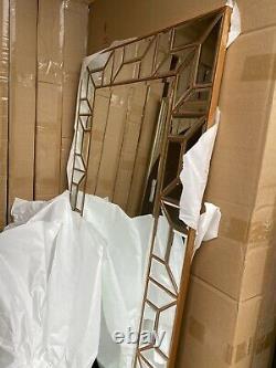 Verbier Grand Rectangle Or Moderne Longueur Complète Miroir Mural De Plancher Maigre 62x31