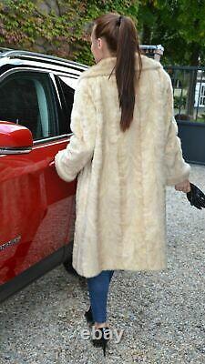 Vidéo! Près De Mint! Med Large Blonde Vison 42 Poitrine Long Fur Coat Fourrure Pleine Longueur