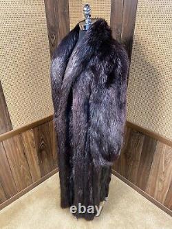 Vintage Cadrage Aux Cheveux Longs Ébène Manteau De Fourrure De Castor Grand 8 10