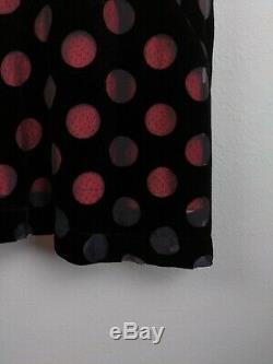 Vintage Comme Des Garçons Femmes Jupe L Grand Velours Rose Noire À Pois Doublé