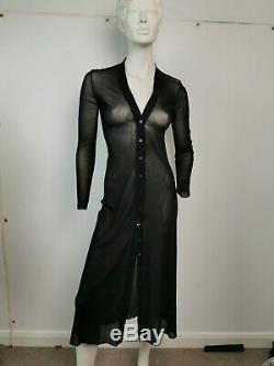 Vintage Jean Paul Gaultier Mesh Robe Longue + Housse Filet Sz L Ue 40 Royaume-uni 12