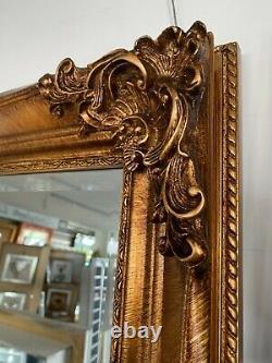 Vintage Large Shabby Chic Full Length Wall Leaner Floor Mirror Gold 180cm X 90cm