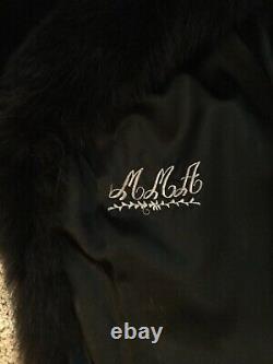 Vintage Mink Fox Noir Complet Longueur Fur Coat Veste Sz L, Étourdir