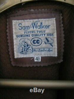 Vintage Sam Walker'flying Togs De Pleine Longueur Taille Poids Lourd Manteau En Cuir 48