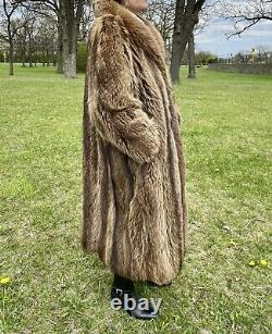 Vintage Taille Moyenne / Grande Tanuki Finn Raccoon Fox Fourrure Pleine Longueur Manteau Long