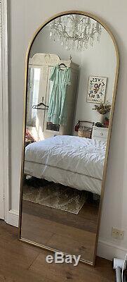 West Elm Arquéesles Penchée En Laiton Plancher Pleine Longueur Miroir Grande Rrp £ 499